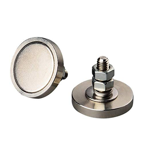 Mutuactor Neodym-Magnet, rund, mit M6-Stecker und vertikaler magnetischer Zugkraft, 23 kg, 4 Stück