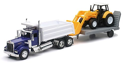 New 1:32 KENWORTH W900 DUMP TRUCK WITH WHEEL LOADER & Trailer SS-10663 Diecast Model By NEW RAY TOYS by New Ray