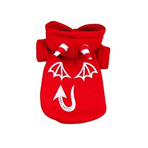 ZTMN Woodland Camouflage Cotton Hoodied Sweatshirts Hundekleidung Haustierkleidung Nachtlicht Devil Coat (Farbe: Rot, Größe: Medium) (Red Devil Dog Kostüm)