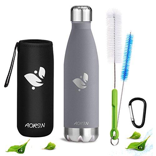 Aorin Vakuum-isolierte Trinkflasche aus Hochwertigem Edelstahl - 24 Std Kühlen & 12 Std Warmhalten . Pulverlackierung Kratzfestigkeit Leicht zu reinigen. (grau- 500ml)