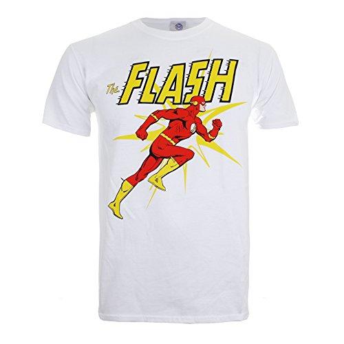 DC Comics Flash Running-Mens Sml, T-Shirt Uomo, Bianco (White), Small