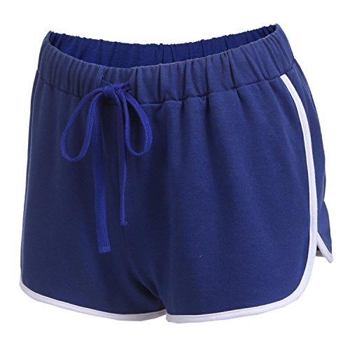 Damen Kurze Hose Shorts Schlafanzughose Schlafhose Yoga Sporthose Running Gym Beiläufige Elastische Shorts Scharz Grau Dunkelblau (Blaue Sleep-pant Damen)