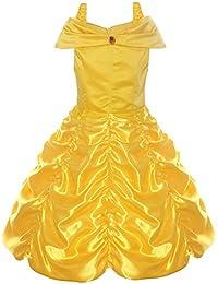 Tacobear Vestido de Fiesta de Princesa Belle sin Hombros en Capas Vestido de Fiesta de Lujo para Niñas