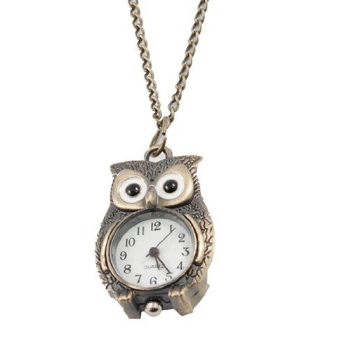 TOOGOO(R) Reloj Collar de Cuarzo Colgante de Buho Color Bronce para Mujeres
