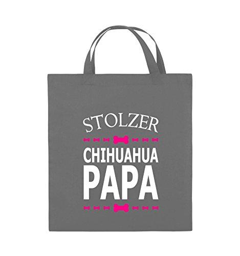 Borse Comiche - Orgoglioso Chihuahua Papa - Borsa Di Juta - Manico Corto - 38x42cm - Colore: Nero / Bianco-neon Verde Grigio Scuro / Bianco-rosa