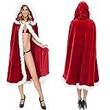 mxdmai Mantello di Natale da Donna da 1Pc 47'Costume da Cappuccio da Donna di Mrs Santa, Rosso