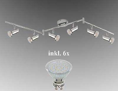 LED Deckenleuchte 6-flammig 165cm TG 2000-068B inkl. 6x LED GU10 230V Warm-Weiß LM , Deckenstrahler m. Gelenken ©Trango-Brilon von Trango - Lampenhans.de