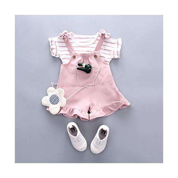 Trisee Conjunto de Ropa de bebé niña Pantalones Babero Originales sin Mangas con Volantes y Tops de Rayas Newborn 2… 5