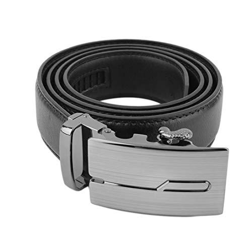 Togames-ES Cinturón de hebilla automático clásico negro para hombres Cinturón de hebilla Cinturón de cuero genuino
