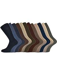 Lot de 6 Paires de chaussettes en coton Non élastiques Homme BIG FOOT - Multicolore - XL