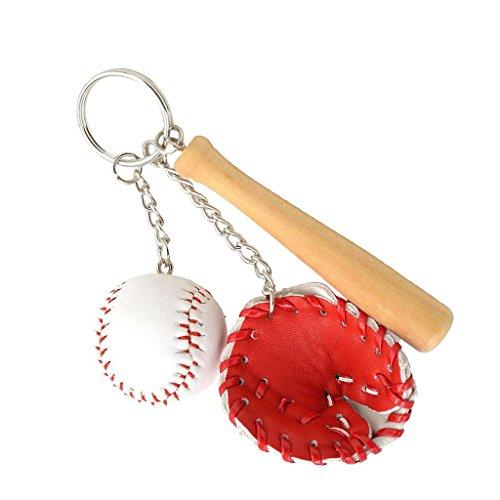 Mini-Baseball-Ball + Schläger + Handschuh-Set Anhänger Schlüsselring Geschenk - Rot