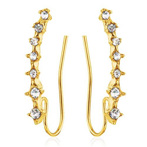 MODRSA Diamond CZ Ear Crawler Cuff Ohrklemme Ohrringe Chirurgenstahl Ear Climber Studs für Damen Mädchen Fake Ohrringe - Gold