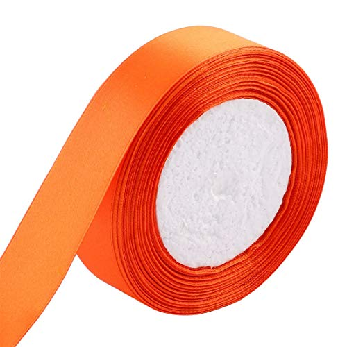 ZCHXD Birthday Festival Gift Packing Double Face Satin Ribbon Roll 25 Yards 23M 2.5cm Width Orange -