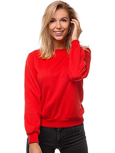 OZONEE Damen Sweatshirt Pullover Langarm Farbvarianten Langarmshirt Pulli ohne Kapuze Baumwolle Baumwollemischung Classic Basic Rundhals-Ausschnitt Sport JS/W01 ROT L