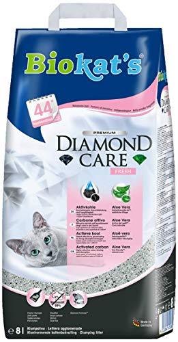 Biokat's Diamond Care Fresh Katzenstreu mit Duft, Hochwertige Klumpstreu für Katzen mit Aktivkohle und Aloe Vera, 1 Papierbeutel (1 x 8 L)