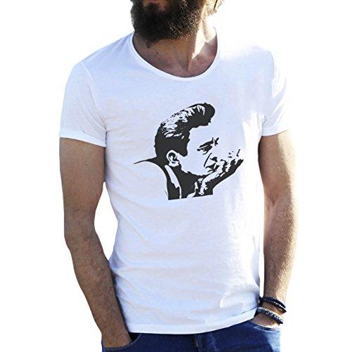 Johnny Cash Art Sketch by Dune Weiße Herren T-Shirt Large (Ärmel Johnny-kragen-shirt)