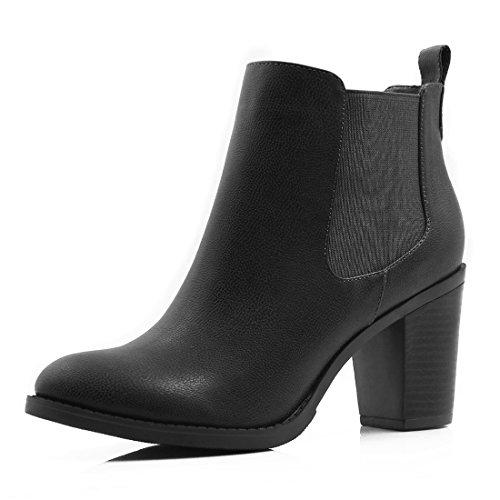 sourcingmap® Women's Stacked High Heel Ankle Booties Chelsea Boot (Size US 9)...