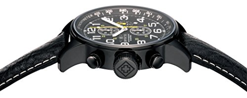 Invicta Men's Quartz Watch with Black Dial Chronograph Display and Black Leather Strap 3332