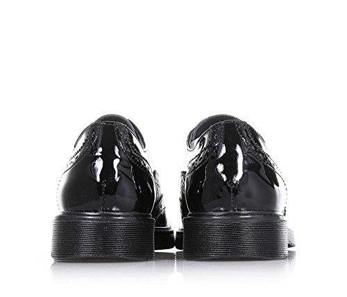 CULT - Schwarzer Halbschuh aus Lackleder, mit Lochmuster, goldenen Applikationen auf der Vorderseite, Mädchen, Damen Schwarz