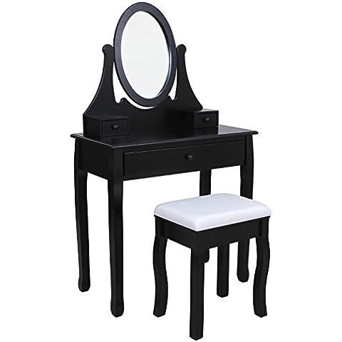 Songmics Tocador con cajones, espejo y taburete, Negro, RDT02H