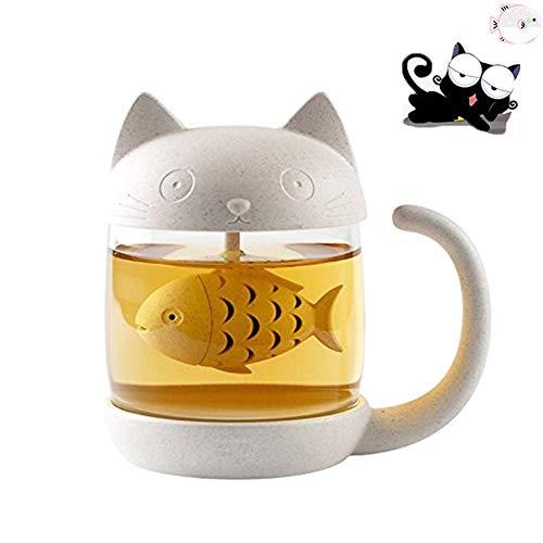 Moozic Niedlich Katzen Glas Tee Becher Wasser Flasche mit Fisch Tee Infuser Sieb Filter 250ML