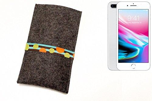 """flat.design Handyhülle """"Lisboa"""" für Apple iPhone 8 Plus - Filztasche aus 100% Wollfilz (anthrazit) - handmade in Germany Smartphone Schutz Hülle für Apple iPhone 8 Plus Kreise - anthrazit"""