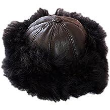 Dazoriginal Ushanka Mujer Piel Gorro Ruso Invierno Boina Cuero Sombrero  Punto dc4bc559078
