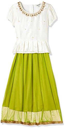 Karigari Girl's A-Line Regular Fit Cotton Salwar Suit Set (273037845 _Green_07Y)