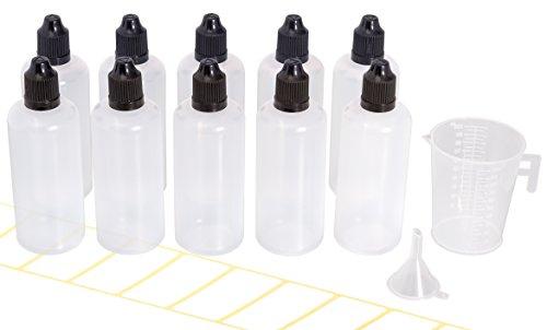 10x Tropfflasche 100ml mit gratis Trichter, Messbecher und Etiketten. Plastikflasche für E-Liquids und Flüssigkeiten