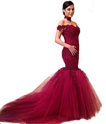 Bridal_Mall - Robe de mariage - Mermaid - Sans Manche - Femme Bordeaux
