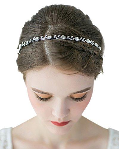 SWEETV Strass Blatt Hochzeit Stirnbänder Kristall Braut Haarbänder Tiara Kopfschmuck, Einzelnes Band Silber