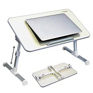 [2 ans Garantie] Avantree Table portable réglable de qualité, table de lit, bureau portatif de lit, Plateau de petit-déjeuner, support pour ordinateur portable - Minitable Beige