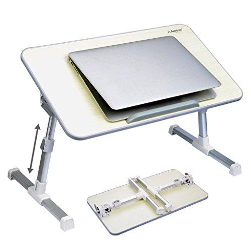 [2 ans Garantie]Avantree Table portable réglable de qualité,table de lit, bureau portatif de lit, Plateau de petit-déjeuner, support pour ordinateur portable - Minitable Beige