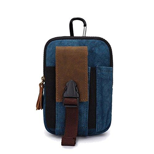 Artone Uomo Tela Pelle Hanging Borsa Cintura Borsa Fit Iphone 6 Plus Blu