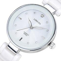 LONGBO Womens Luxury Ceramic Band Business Bangle Watch Silver Case Bracelet Wrist Dress Watches Fashion Rhinestone Crystal Lady Analog Quartz Luminous Hand Big Face Watches