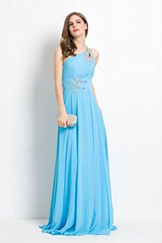 Bellezza-Emily da donna sulle spalle paillettes Chiffon lungo servizio di posate per vestiti da sera Dark Blue