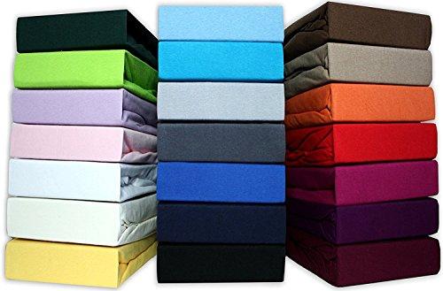 leevitex Farbenfrohes Spannbettlaken für Wasserbetten & Boxspringbett Spannbetttuch Jersey 200 x 220cm, 40cm Steghöhe 100% Baumwolle ca. 160 g/m² (Creme/Naturweiß)