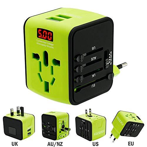 FEIGO Universal Ladegerät Mini Travel Adapter (US UK AU EU) Ladestecker mit max. 2.4A Dual Zwei USB Port Anschlüsse AC-in mit Betriebsanzeige Überspannungsschutz Mini Travel Ac Adapter
