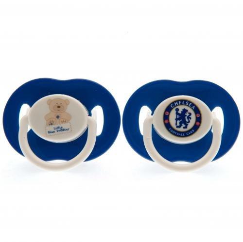 Chelsea FC Schnuller, offiziell, 2 Stück, Unisex - Baby, blau/weiß, Einheitsgröße