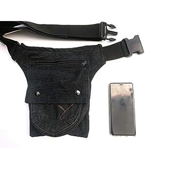 Hüfttasche hergestellt aus eine schwarze recycleten Jeans, bei Hipsypixie