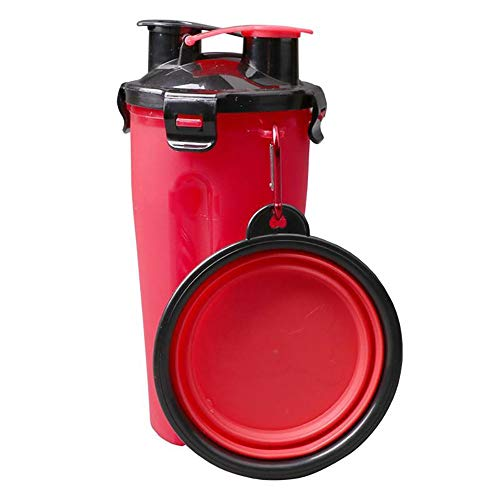 MOMAMO Hunde Trinkflasche Für Unterwegs, 2 in 1 Folding Pet Outdoor Reise Wasser Futternapf Hundenäpfe Container Dish Cup 3 Cup Container