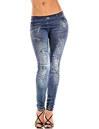 Ostenx Sexy JEANS-LOOK-LEGGINGS Jeggings Leggins JEANS-Destroyed-Look Hose Treggins