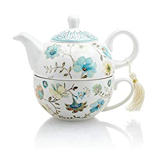 Vintage Flower Porcelain Tea for One Teapot and Cup Set in Gift Box (Baby Blue)