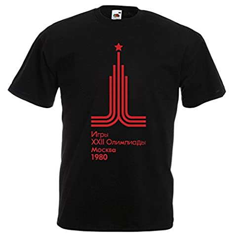 Mens vintage retro Moscow 1980 olympic T-shirt, Black, Extra large