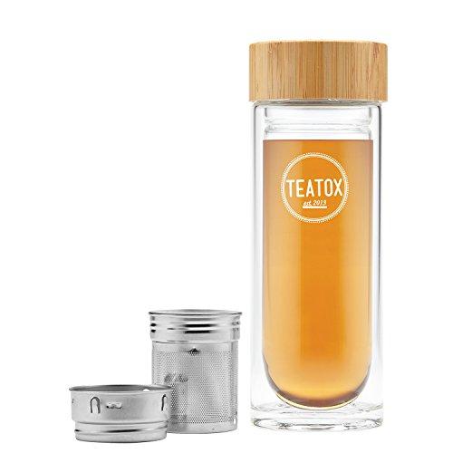 TEATOX Thermo-Go Bottle 330ml | doppelwandige Teeflasche mit 2-in-1 Teesieb | Tee Trinkflasche, Thermosflasche Tee, Thermoskanne Glas, Glasflasche mit Teesieb | Tea to Go Becher, Teekanne to Go, Teebereiter to Go | Fruit infuser water bottle | BPA frei, die Flasche mit Sieb für unterwegs (Bamboo)