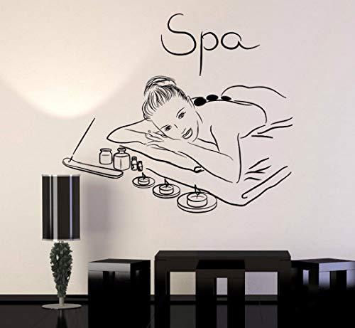 Spa-glas Kerze (JXNY Pflegesalon Aufkleber Schönheitssalon Spa Schönheitssalon Massage Entspannen Mädchen Kerze Aufkleber Abnehmbare Vinyl Kunst Wandaufkleber 57X67 CM)