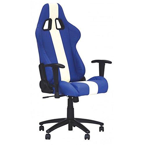 Preisvergleich Produktbild Bürodrehstuhl Baquet Kunstleder blau/weiß mit Armlehne