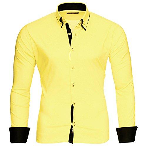Reslad Männer Hemd bügelleicht Slim Fit Freizeithemden Business Herren Kontrast buntes Langarmhemd RS-7050 Gelb Schwarz Gr M