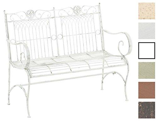CLP Metall Gartenbank PURUSHA, 2-Sitzer, Landhaus-Stil, Eisen lackiert, Design nostalgisch Antik Weiß