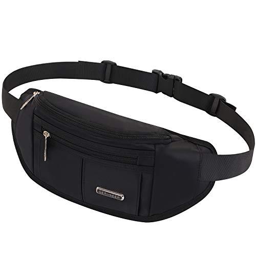 GERIINEER wasserdichte Bauchtasche Hüfttasche für Damen und Herren 3 Reißverschluss Taschen Hüfttasche für Running Reise (Schwarz)